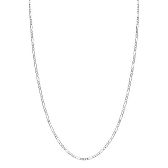 24 inch Mens 14k White Gold Figaro Chain