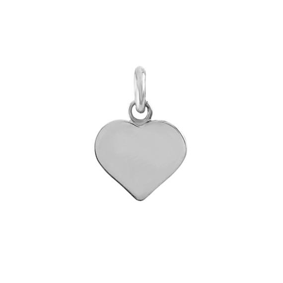 14k White Gold Heart Pendant Charm