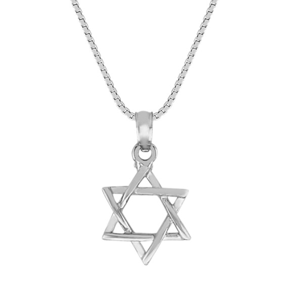 14k White Gold Star of David Pendant (18 in)