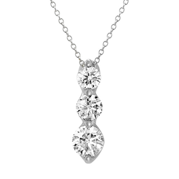 14k White Gold Three-Stone Diamond Pendant (22 in)