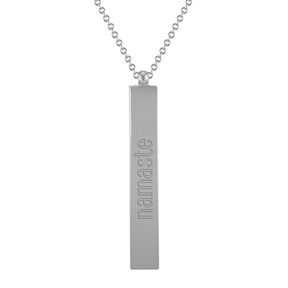 14k White Gold Vertical Bar Pendant (18 in)
