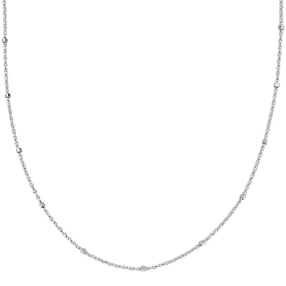 14k White Gold Wheat Chain with Stations (24 in)