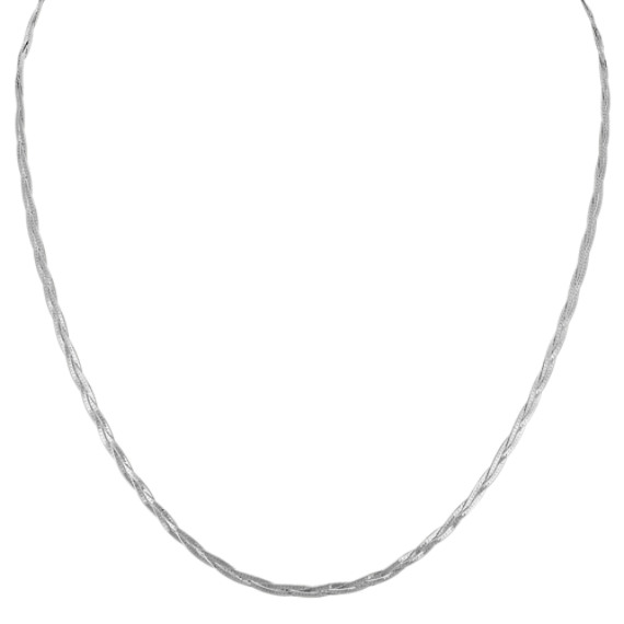 14k White Gold Woven Necklace (18 in)
