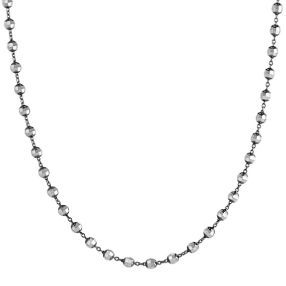14k White Gold and Black Rhodium Disco Bead Necklace (25 in)