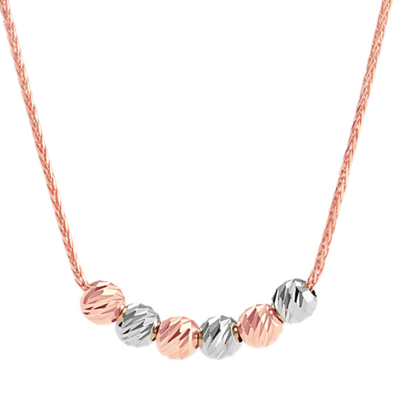 14k White and Rose Gold Lariat Necklace (26 in.)