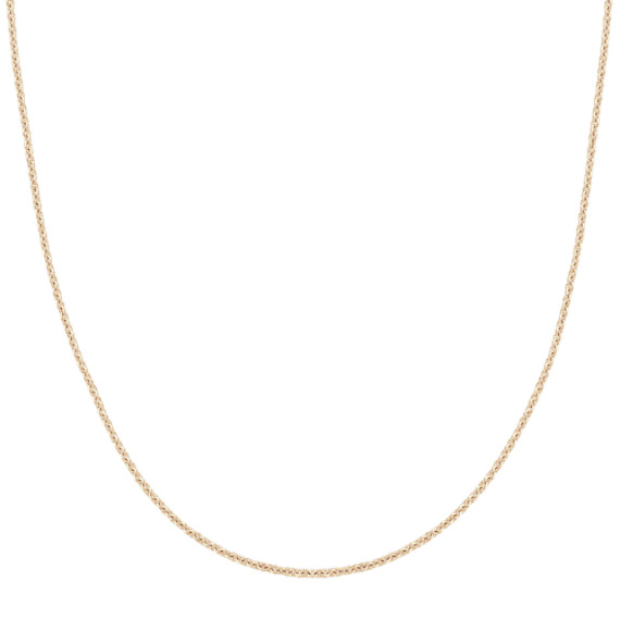 14k Yellow Gold Adjustable Diamond Cut Cable Chain (22 in)
