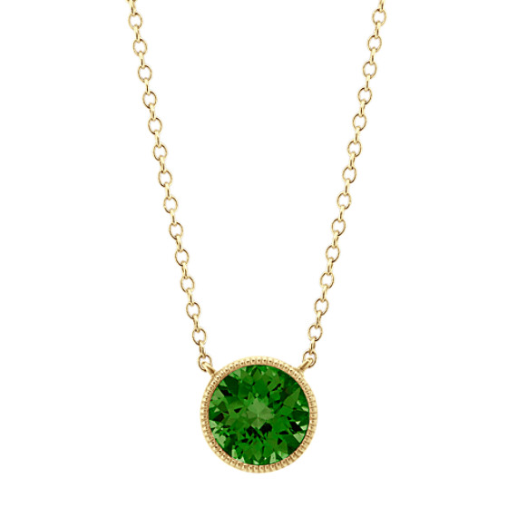 14k Yellow Gold Bezel-Set Chrome Diopside Necklace (18 in)