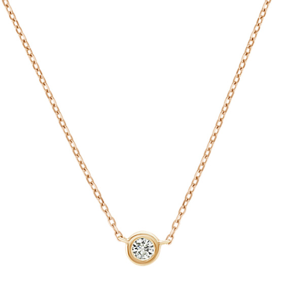 14k Yellow Gold Bezel-Set Diamond Necklace (18 in)