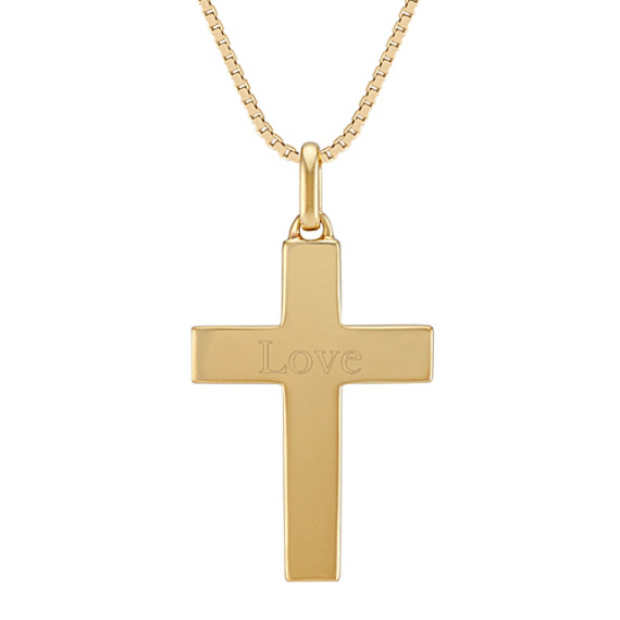 24 inch Mens 14k Yellow Gold Cross Necklace