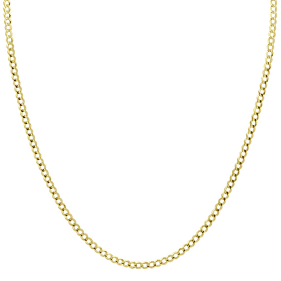 14k Yellow Gold Diamond Cut Curb Chain (28 in)