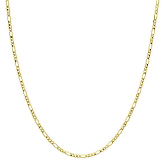 14k Yellow Gold Diamond Cut Figaro Chain (30 in.)