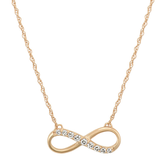 14k Yellow Gold Diamond Infinity Necklace (18 in)