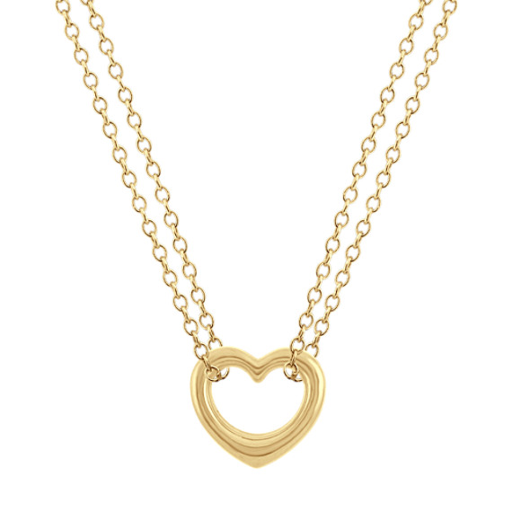 14k Yellow Gold Heart Necklace (18 in)