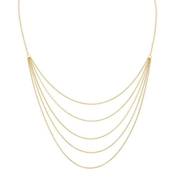 14k Yellow Gold Layered Necklace (22 in)