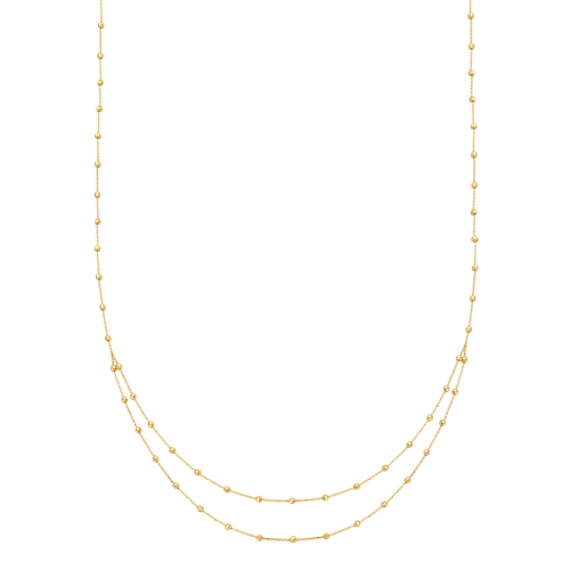 14k Yellow Gold Layered Station Necklace (18 in)