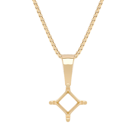 14k Yellow Gold Pendant for Princess Cut Gemstone (18 in)