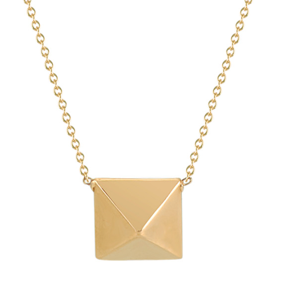 14k Yellow Gold Pyramid Stud Necklace (18 in)