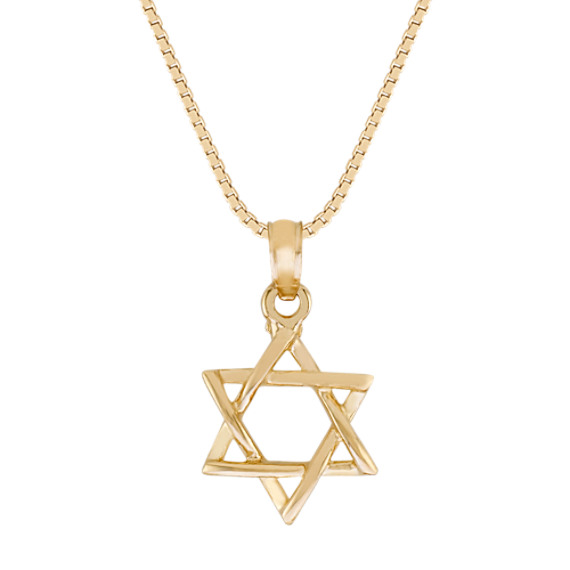 14k Yellow Gold Star of David Pendant (18 in)