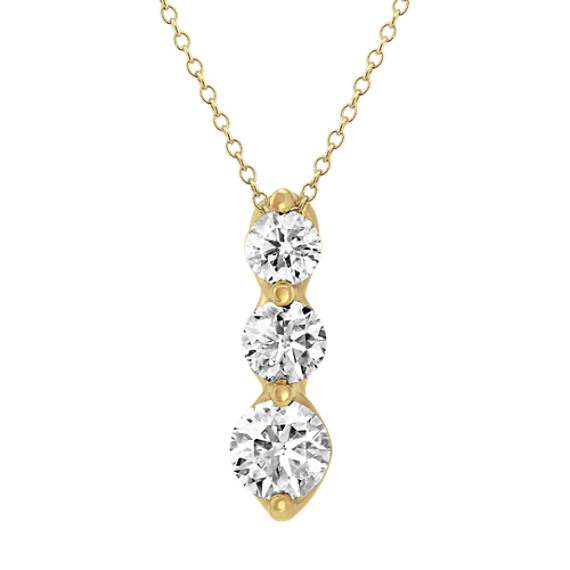 14k Yellow Gold Three-Stone Diamond Pendant (22in.)