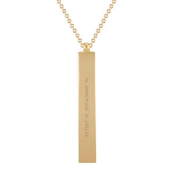 14k Yellow Gold Vertical Bar Pendant (18 in)