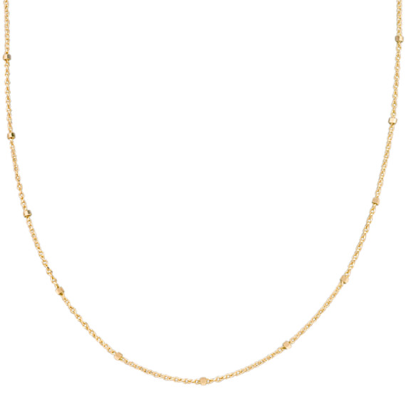 14k Yellow Gold Wheat Chain with Stations (24 in)