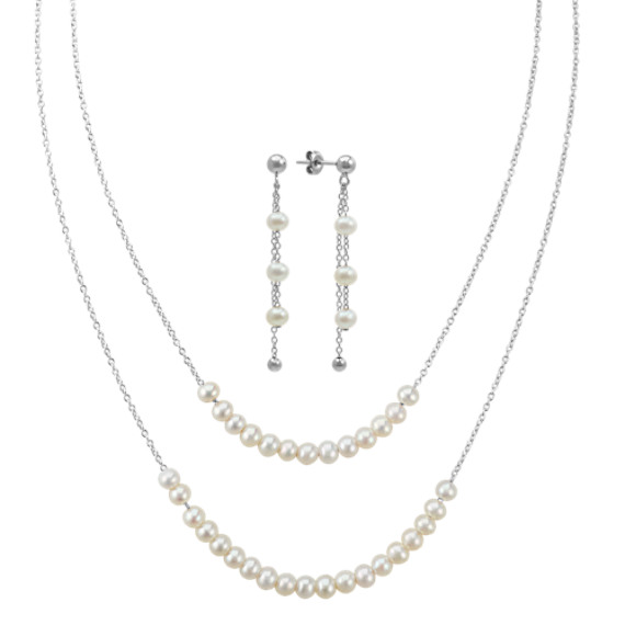 4mm Cultured Freshwater Pearl Necklace and Earrings Two-Piece Set (20 in)