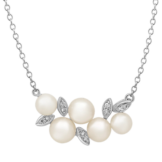 4mm Freshwater Pearl and Diamond Necklace