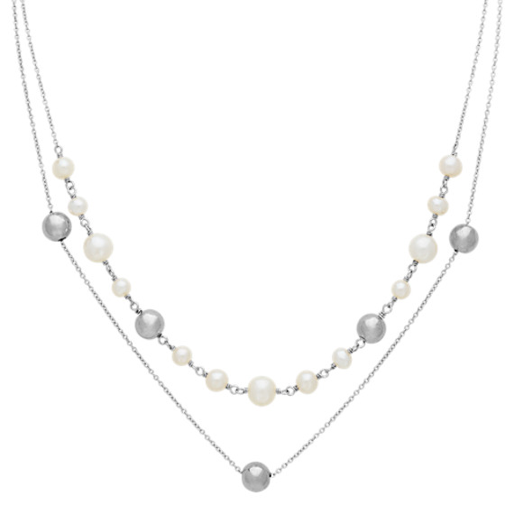 5-8mm Cultured Freshwater Pearl and Sterling Silver Necklace (18 in)