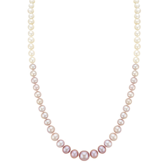 5-9.5mm Graduated White and Lavender Freshwater Pearl Necklace (20 in)