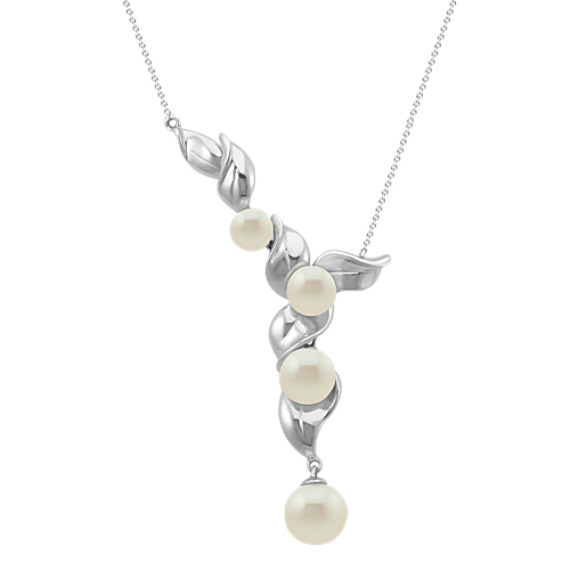 5.5-9mm Cultured Freshwater Pearl Necklace in Sterling Silver (18 in)