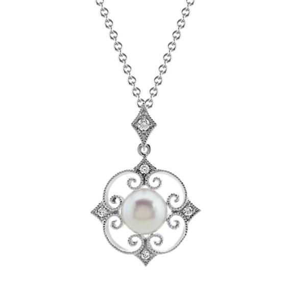 5.5mm Akoya Pearl and Diamond Vintage Pendant (18 in)