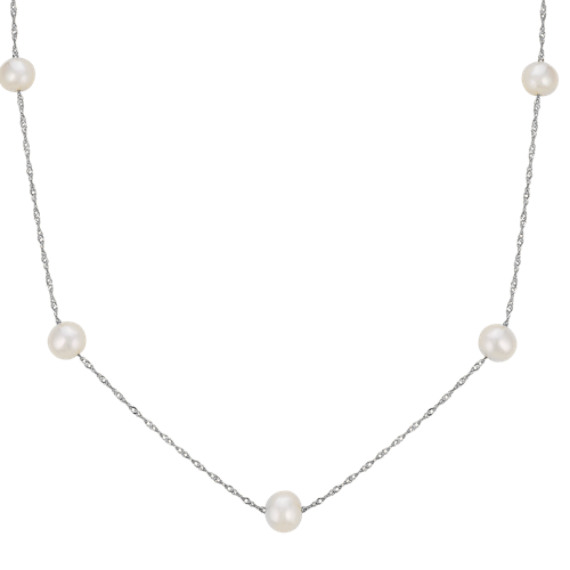 5mm Cultured Freshwater Pearl Necklace in 14k White Gold (17 in)