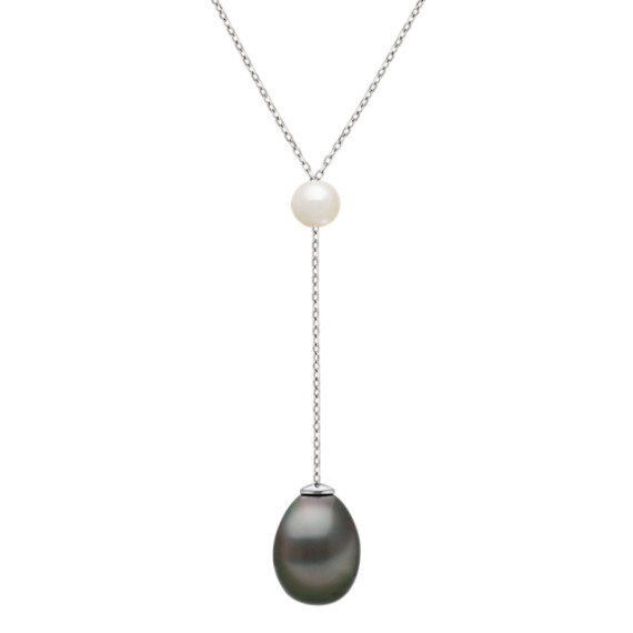 5mm Cultured Tahitian Pearl Necklace in Sterling Silver (18 in)