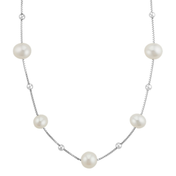 3a78d128d31e5 6-8mm Cultured Freshwater Pearl Necklace and Bracelet Matching Set (18 in)