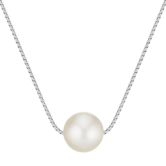 6-9.5mm Cultured Freshwater White Pearl Solitaire Pendant (18 in)