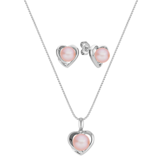 6.5-8mm Pink Cultured Freshwater Pearl and Sterling Silver Pendant and Earring Set