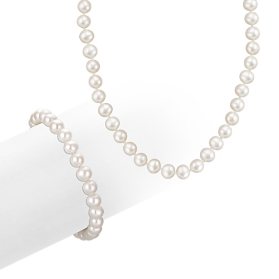 6.5mm Cultured Freshwater Pearl Necklace and Bracelet Set in Sterling Silver (18 in)