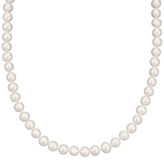 6.5mm Cultured Freshwater Pearl Necklace and Earrings Set (24 in) image