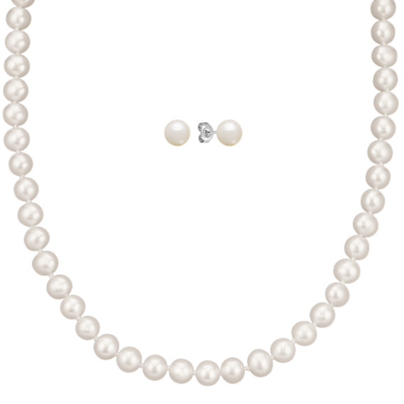 6.5mm Cultured Freshwater Pearl Necklace and Earrings Set (24 in)