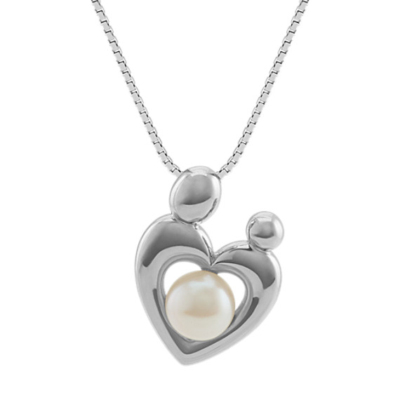 6mm Freshwater Pearl Mother and Child Pendant (20 in)