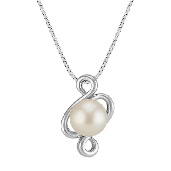 7.5mm Cultured Freshwater Pearl Swirl Pendant (18 in)
