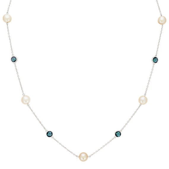 7.5mm Freshwater Pearl and Blue Topaz Necklace (20 in)