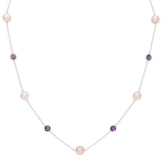 7.5mm Lavender Freshwater Pearl and Amethyst Necklace (20 in)