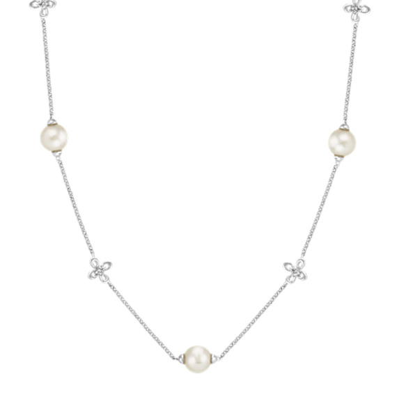 7mm Cultured Akoya Pearl and Diamond Necklace (18 in)