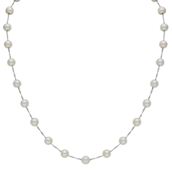 7mm Cultured Freshwater Pearl Tin Cup Necklace (18 in)