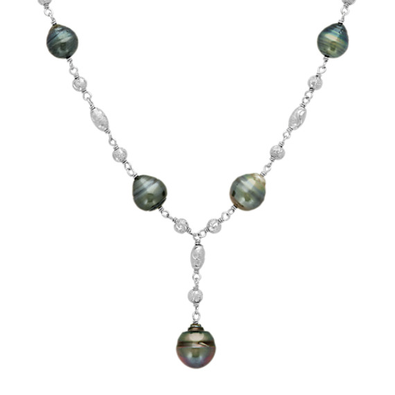 8-11mm Cultured Tahitian Pearl Y Necklace in Sterling Silver (20 in)
