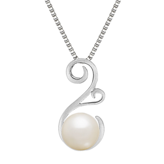 8.5mm Cultured Freshwater Pearl Pendant in Sterling Silver (18 in)