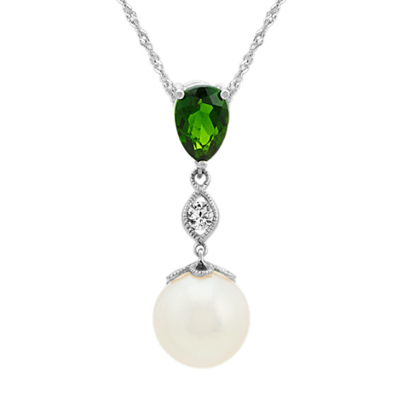 8.5mm Pearl, Green Chrome Diopside and White Sapphire Pendant (20 in)