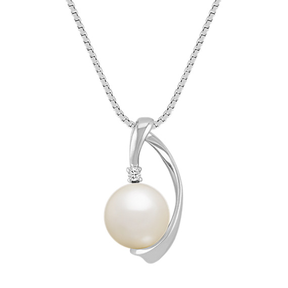 8mm Akoya Pearl and Diamond Pendant (18 in)