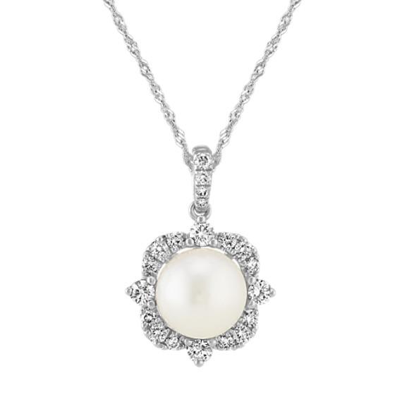 8mm Akoya Pearl and Diamond Pendant (20 in)
